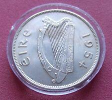 BU  Uncirculated Key Date 1954 Ireland 1/2 Half CROWN 2s6d 1/2 Coiron w Holder