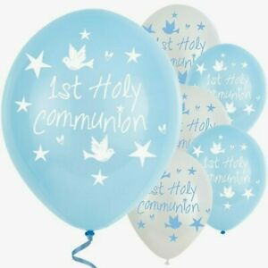 FIRST HOLY COMMUNION BALLOONS - Various amounts PARTY DECORATIONS - blue & white