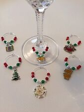 6 Christmas Wine Glass Charms. Party. Gift.