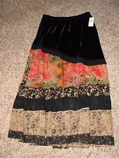 New With Tags COLDWATER CREEK Velvet & Lace Tiered Skirt Sz Small Multi-Colored