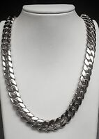 "14k Solid White Gold Miami Cuban Curb Link 24"" 13.5 mm 300 grams chain/Necklace"