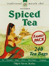 Palanquin Spiced Tea 750g Refreshing Indian Masala chai 240 Tea Bags Family Pack