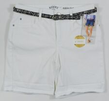 Riders By Lee #6771 NEW Women's White Midrise Belted Shorts