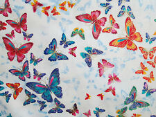 Butterfly Metallic Thread Blue Purple Orange Green Cotton Fabric FQ