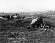 New 8x10 World War I Photo: German Mg Crew Under Camouflage Screen
