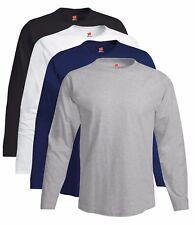 Hanes USA Tagless® Nano Long Sleeve Cotton GREY BLACK or WHITE T-Shirt Tshirt