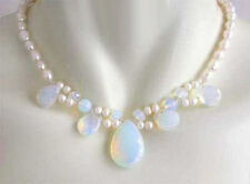 """Cultured 7-8MM White Akoya Pearl & Blue Fire Opal Opalite Necklace 18"""""""