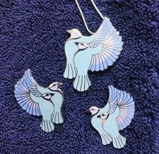 Pastel Blues Lavender, & SP Laurel Burch HUMMINGBIRDS Pendant/Earring Set