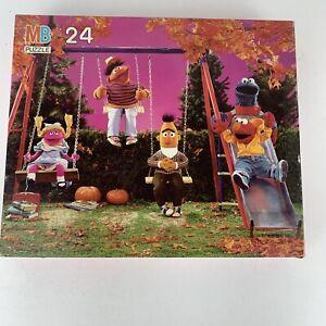 Vintage Sesame Street Puzzle MB Sealed Elmo Swing Set Playground 24pc 1989