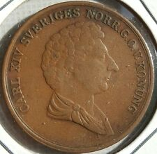 Very Rare 1842 Sweden 2 Skilling Banco - 122,712 Minted Carl XIV Johan Coin