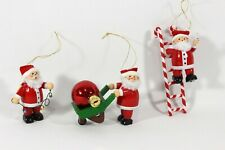 Wooden Santa Ornaments, Set of 3, Used