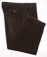 * BRIONI * Recent Dark Brown Cotton Corduroy Pleated Pants Trousers 40 x 27