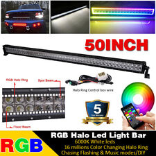 """50""""inch RGB Halo LED Work Light Bar Combo Truck Offroad 4WD SUV Boat Driving 52"""""""