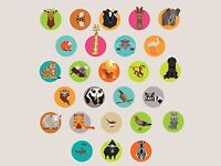 ART PRINT POSTER PAINTING DRAWING ANIMAL BADGE COLLAGE CHILDREN KIDS LFMP0392