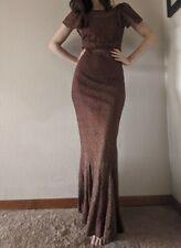 XS 1930s Lace Dress Long Trumpet Flutter Sleeve Art Deco Evening Gown Burgundy