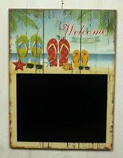 """Wandhänger mit Tafel """"Welcome"""" Memotafel Hawaii Stil Schild Wanddeko MDF maritim"""