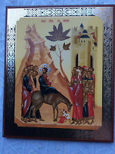 Icon Russian Christian Orthodox RELIGEOUS CHURCH INTO JERUSALEM.PALM