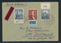 BERLIN 1950, Mi. 73-74 + 109 Brief, portorichtige MIF inkl. Einmal Oberrand!