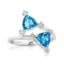 2.30Ct Gemstone Wedding Ring Natural Topaz BIS 14K Gold Diamond Rings Size P