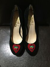 Born Bad Betty Rockabilly Womens Black Suede Platform Shoes Red Heels Size 5