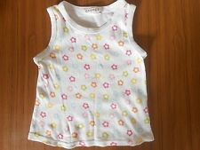 George girls' 100% cotton white vest top with flowers, age 2-3 years
