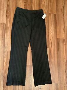 "Larry Levine Classics Dress Pants Size 8 Gray W Pinstripes Straight Leg 31"" Inse"