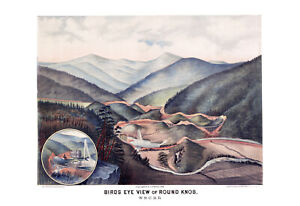 "1884 Round Knob, NC Birdseye View Map Art Print 13"" x 19"" Reproduction"