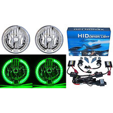 "7"" HID Green Sc LED Halo Ring Angel Eye Headlight 6000K 6K Light Lamp Bulbs Pair"