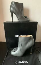d9b4eca79ff6 CHANEL Gray Leather Camellia Flower Ankle Short Boots Heels Shoes New  $1250~9/39