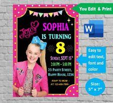 JoJo Siwa Invitation template Printable & Editable digital docx - Birthday Party