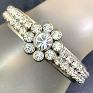 VINTAGE CUFF BRACELET UPCYCLED CLEAR RHINESTONE FLOWER ARTIST MADE ONE OF A KIND