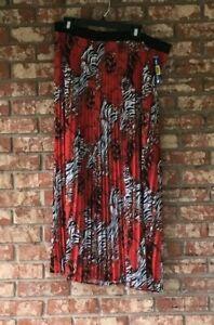 Long Maxi Skirt 2 Shear pleated panels Peter Nygard Navy Batik 4BS Blue Sea