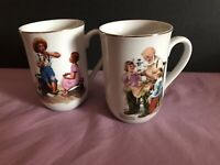 Vintage Norman Rockwell Coffee Cups Mugs Set of 2, Museum Collection Gold Rim 82