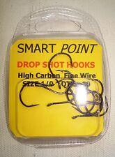 10 x 1/0  SMART POINT, WIDE GAPE, FINE WIRE, DROP SHOT HOOKS