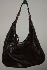 New Piazza Ava Hobo Handbag Purse Soft Cowhide Leather Chocolate Brown Zip Close