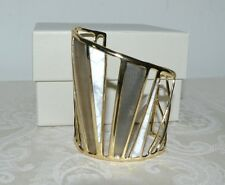 NWT $425 ALEXIS BITTAR Luna Colorblock Lucite Howlite Cuff Bracelet Warm Grey
