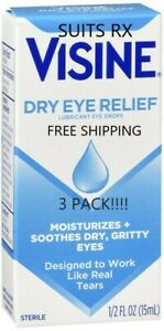 VISINE TEARS DRY EYE RELIEF 0.5 oz 3 Pack (free Shipping) NEW