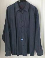 Untuckit Men's  Size Plus 3XL  Button Up Shirt  Long Sleeve Blue Casual