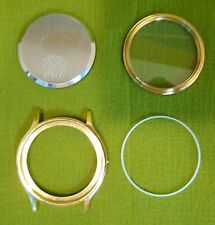 RARE NOS Seiko 7T32-6A50 Case Back, Bezel Crystal Gasket Yellow Gold Watch Body