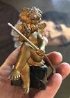 Antique Cupid Bronze Sculpture Statue Figurine Figure Marble Base With Arrow