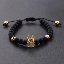 Men's Fashion Cubic Zircon 24kt Gold Plated Crown Bracelet Black Beaded Bracelet