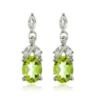 Sterling Silver Peridot and White Topaz Oval Dangle Earrings