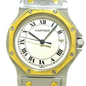 Auth Cartier Santos OctagonLM Silver 18K Yellow Gold 03921 Mens Wrist Watch