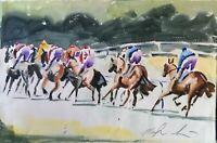 "ORIGINAL watercolour painting horse racing22"" x 13"" Marilyn Allis"