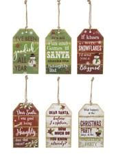 Christmas Wood Tags Large 6.5 x 11.5 Choice Santa Snowflakes Party Naughty Ganz