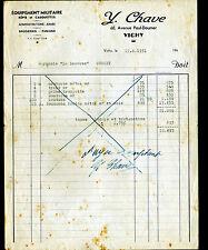 """VICHY (03) EQUIPEMENT MILITAIRE / KEPI CASQUETTE FANION """"Y. CHAVE"""" en 1951"""