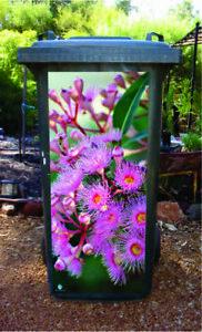 Pink flowering gum wheelie bin sticker