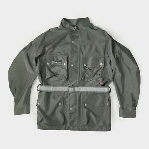 Belstaff Motorcyle Rain Coat Lightweight Jacket Trialmaster Nylon Khaki Green L