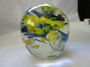 Vintage Hand Blown Glass Paperweight  Clear, blue & yellow