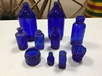 10 Vintage Antique Cobalt Blue Glass Medicine Bottles Poison Bottle (MAR57)